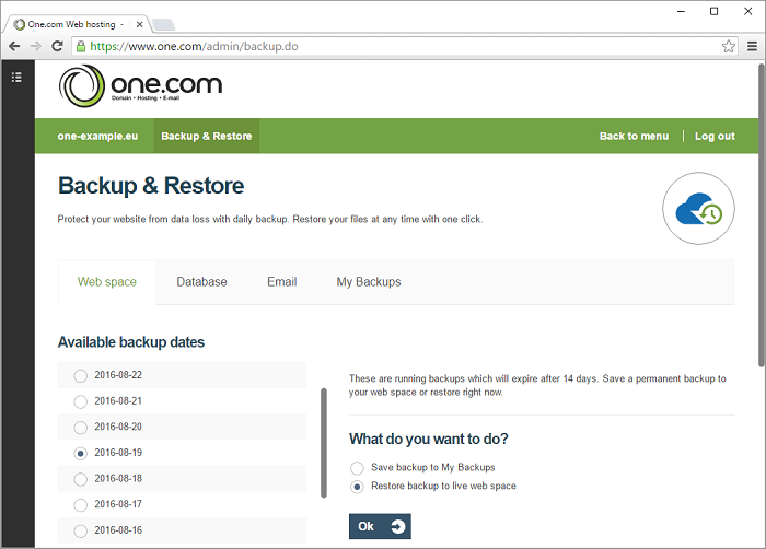 Select from which you want to restore a backup from your web space