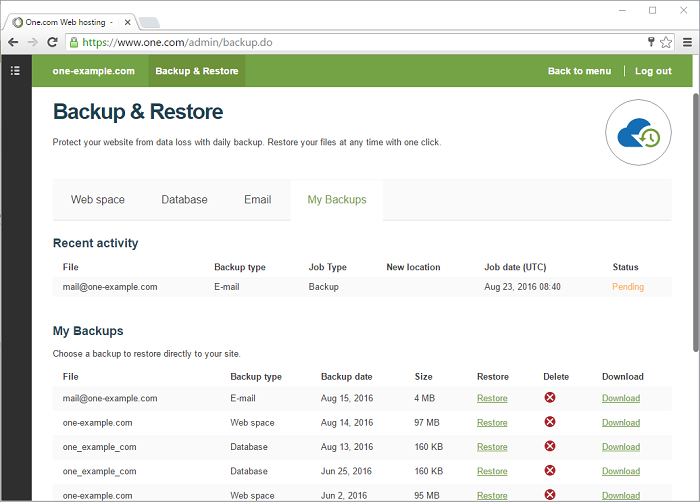You can use backup and restore for your web space database and email