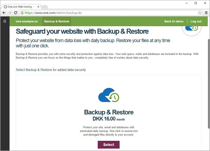 Click select to activate backup and restore