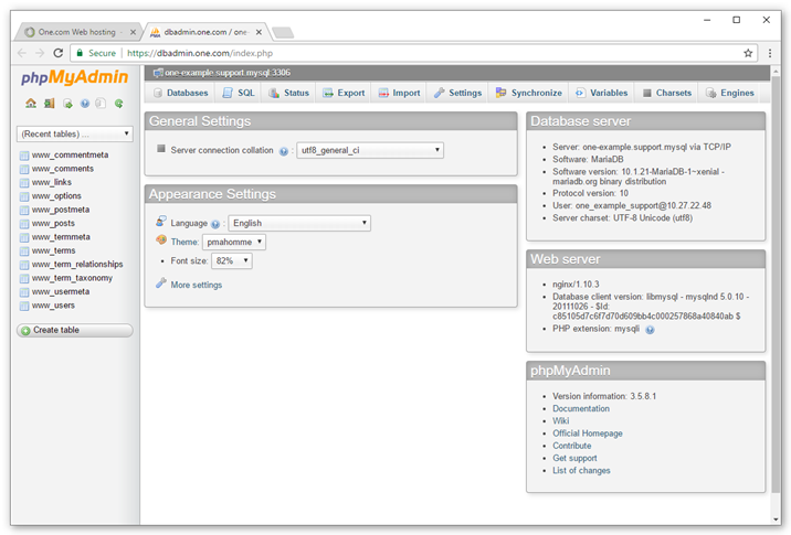 View your database in phpMyADMIN