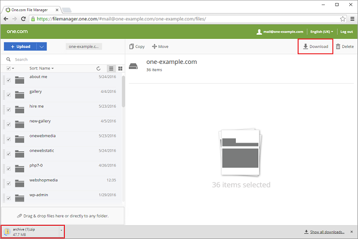 Download files in File Manager