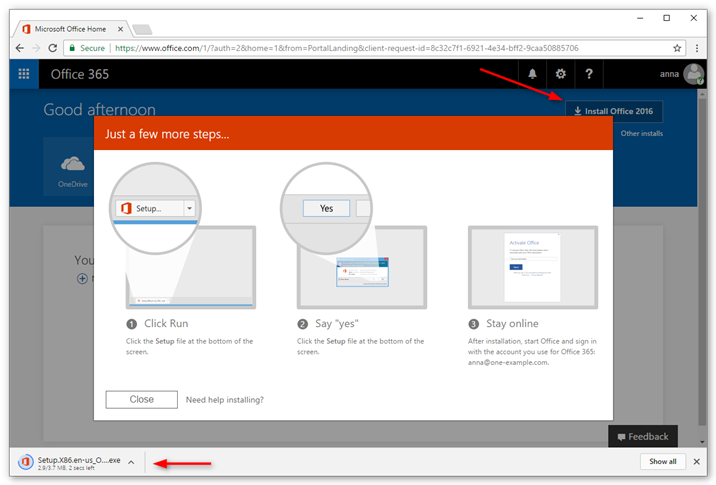 Click install Office 2016 and follow the instructions on your screen