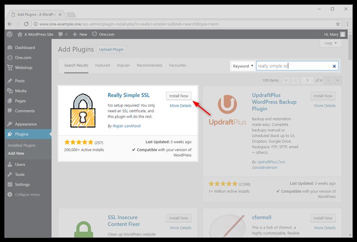 Install the plugin Really Simple SSL