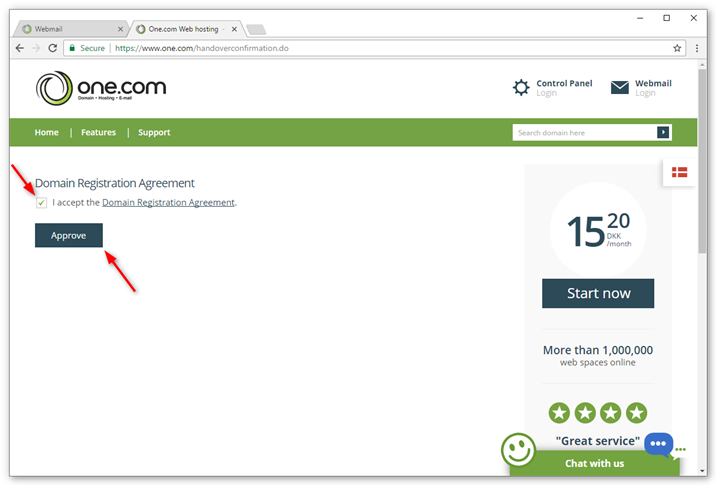 Check the box for the domain agreement and click Approve.
