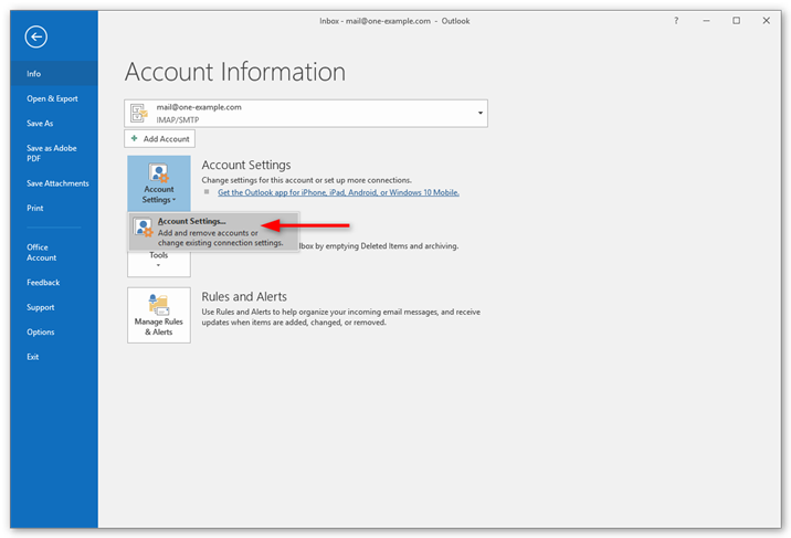 Setting up Microsoft Outlook 2016 – Support | One com