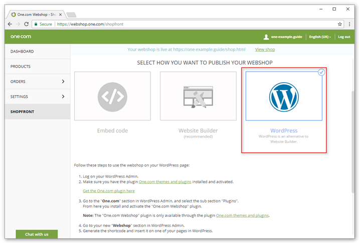 Insert your webshop in your WordPress site with our especially developed plugin