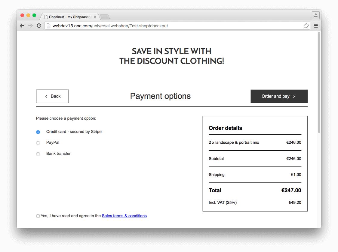 Stripe as one of the payment option in checkout
