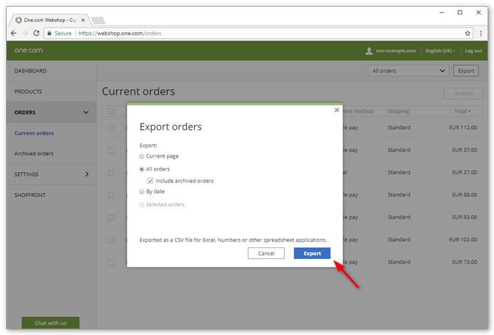 Select which order you want to export