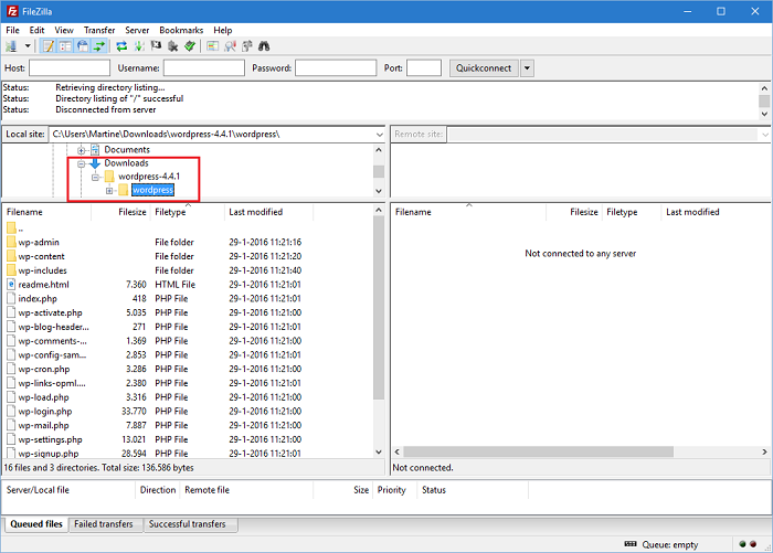 Open FileZilla and locate the installation files