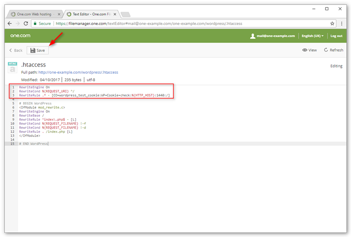 Add the above code to your .htaccess file in the WordPress directory