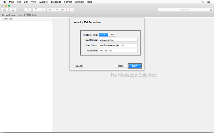 yosemite imap settings