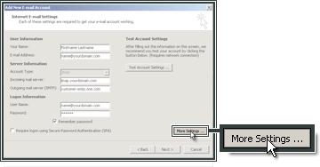 Paramêtrer le serveur sortant SMTP.