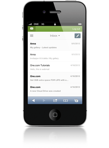 Overview of emails in webmail on mobile.