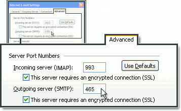 Configuração do número da porta SMTP no MS Outlook em One.com.