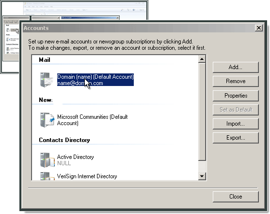 Configurando o Windows Live Mail com One.com.
