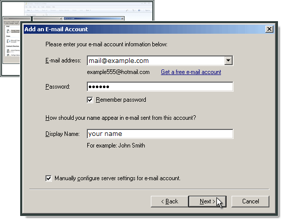 Typing in e-mail address and password in Windows Live Mail.