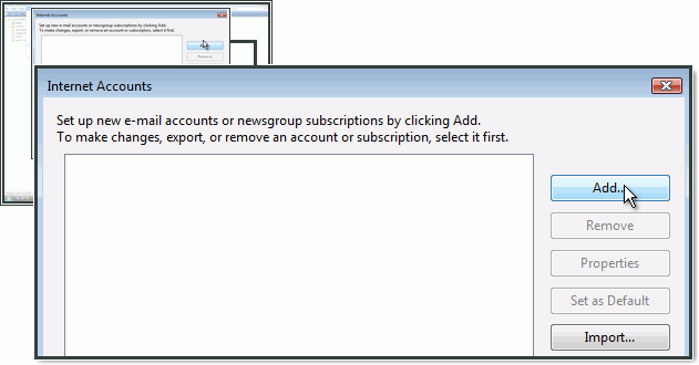 Adding an email account in Windows Mail.