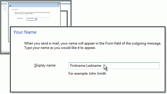 Wprowadzanie nazwy, która będzie wyświetlana w polu Od wiadomości wychodzącej