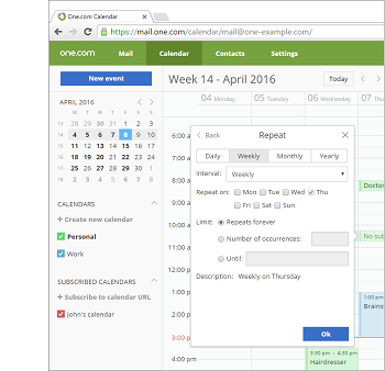 Create recurring events in your calendar