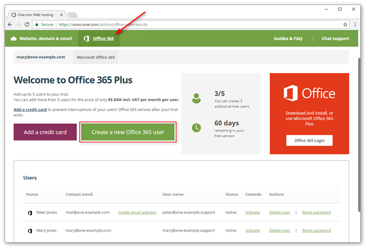 Click Add Office 365 user to create your first user