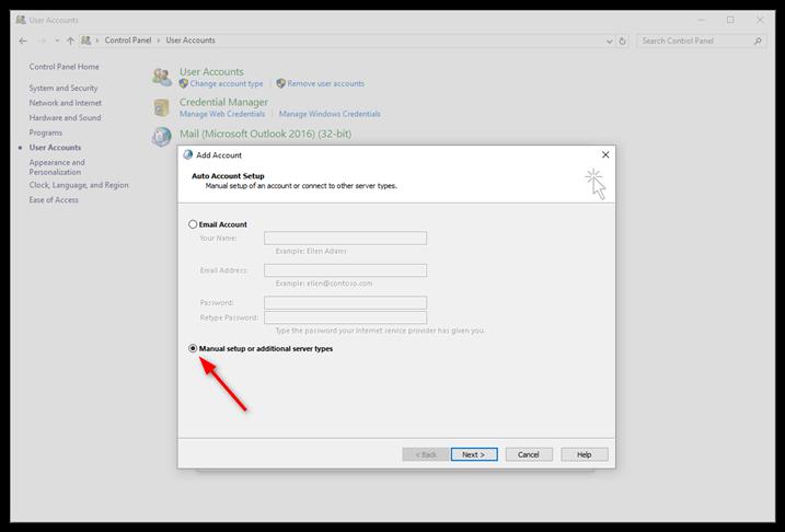 Select Manual setup and click Next