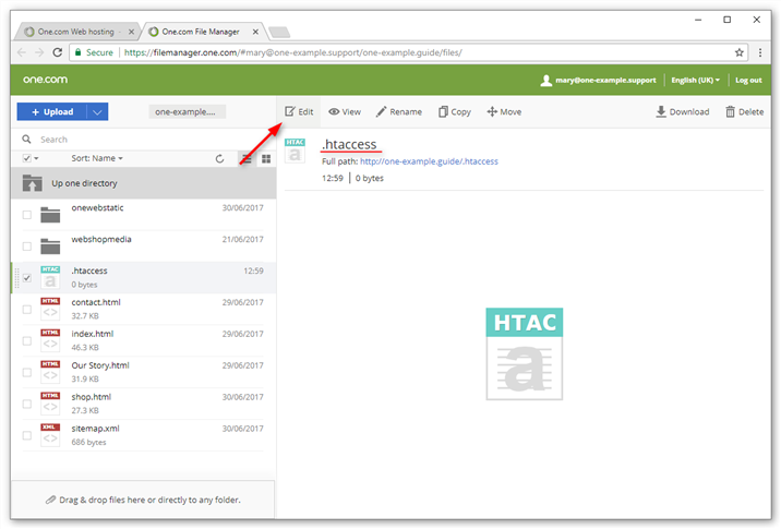 Create a file called .htaccess and click Edit