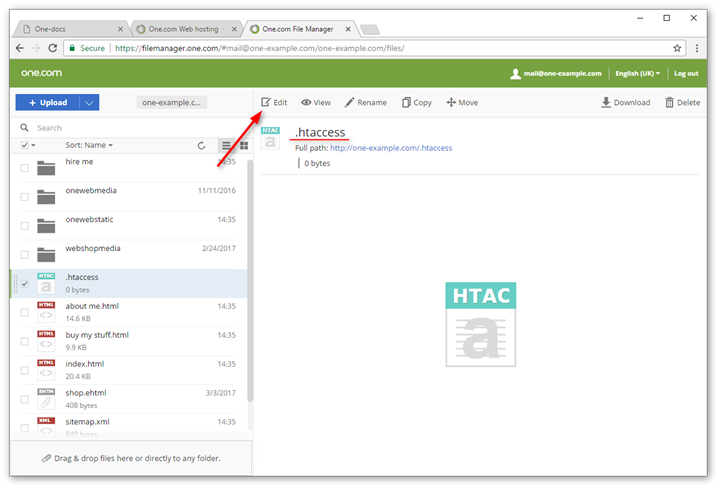 edit the htaccess file