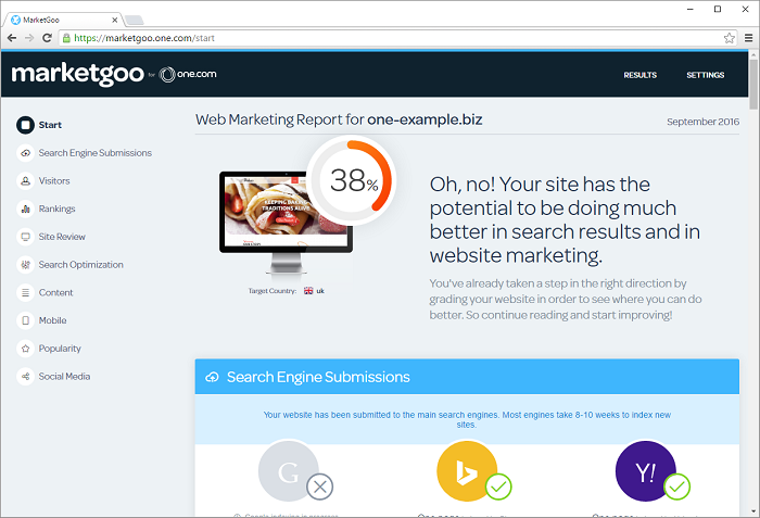 your marketing report starts with your overall score