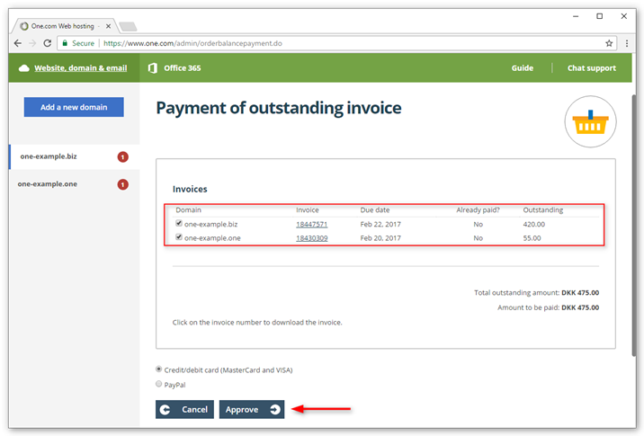 Pay invoices