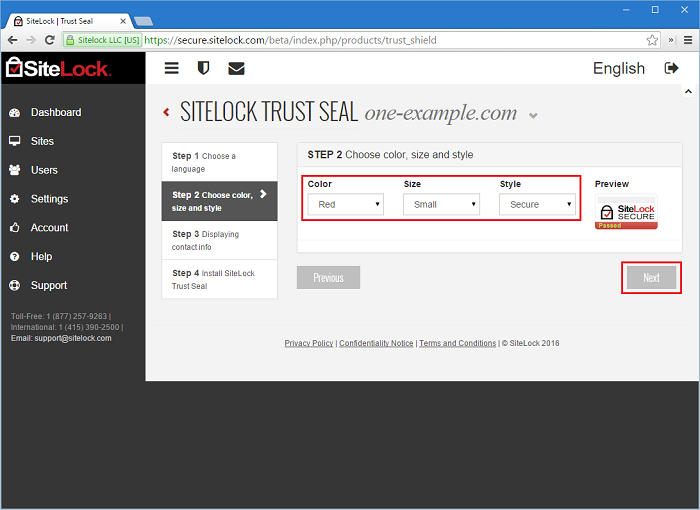 SiteLock Trust Seal Step 2