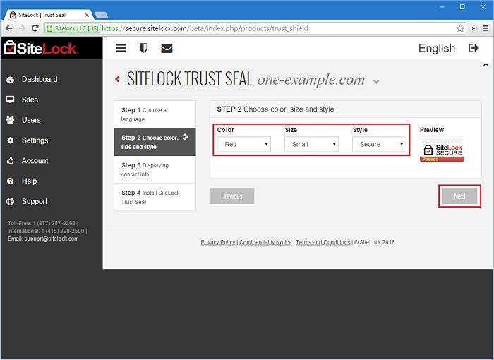 SiteLock Trust Seal Step 2