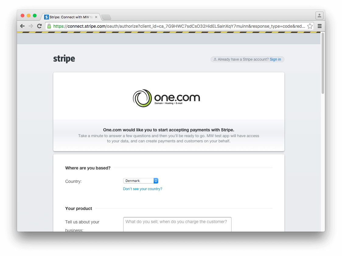 Sign in with existing Stripe account