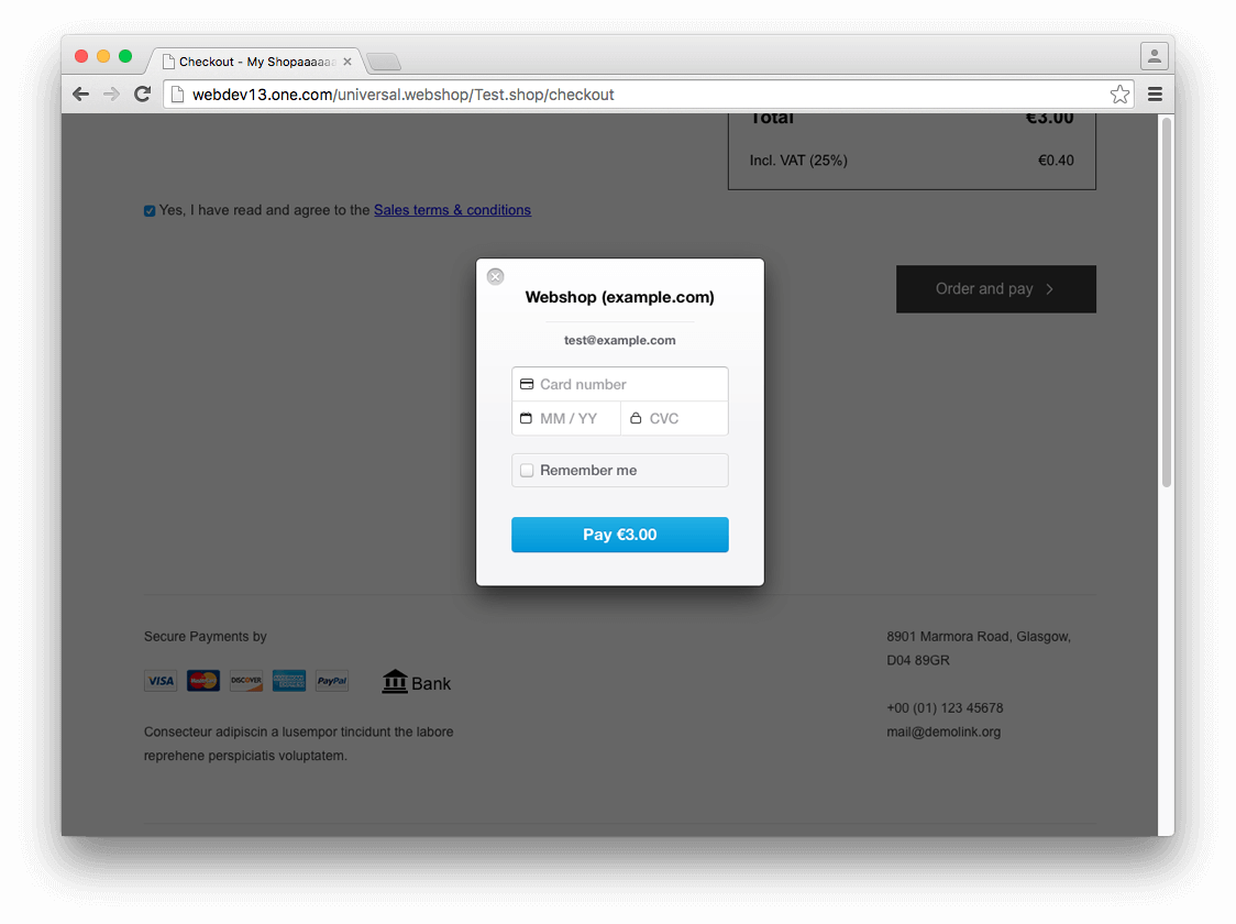 Stripe is a payment option in checkout
