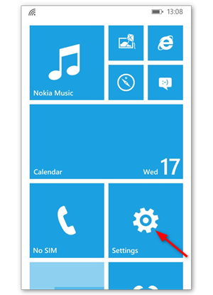 Go to Settings on your Windows phone