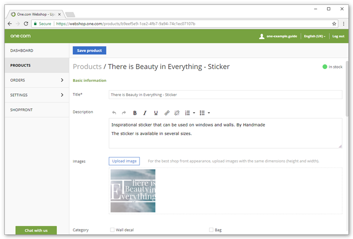 Enter a title and description for your product and upload images