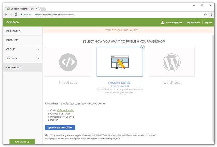 Select how you want to publish your shop