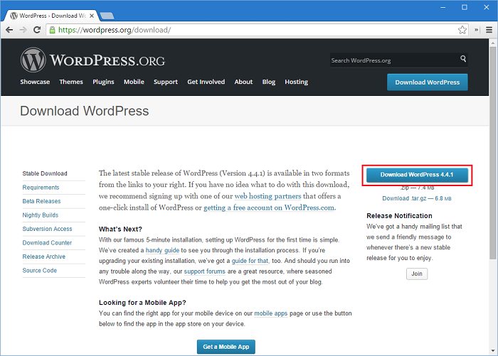 Download the latest version of WordPress