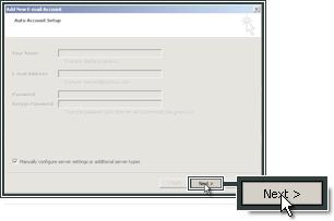 Proseguire con la configurazione dei server IMAP ed SMTP per l'account.