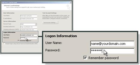 Entrer l'adresse email et le mot de passe créés dans le Panneau de Configuration.