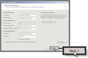 Procedere per terminare la configurazione dell'account di posta in Outlook 2007.