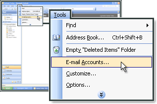 Select E-mail accounts in MS Outlook.