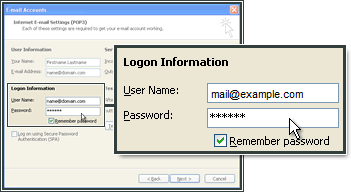 Enter the email address and password for the email account in MS Outlook.