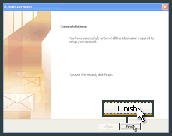Finishing the setup of an email account in Microsoft Outlook.
