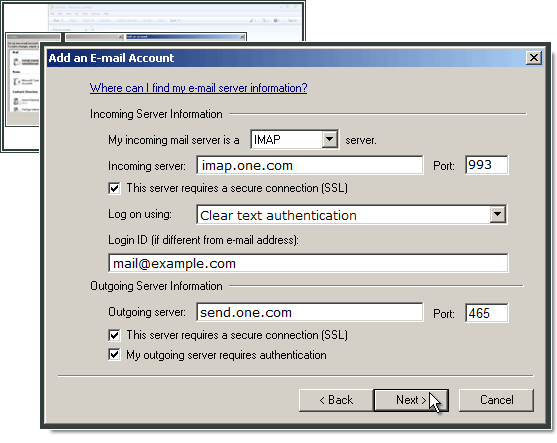 Entering incoming and outgoing server details in Windows Live Mail.