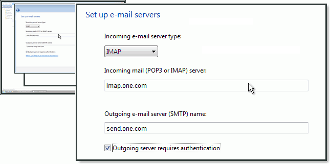 Configuração de servidores de e-mail para IMAP e SMTP no Windows Mail.