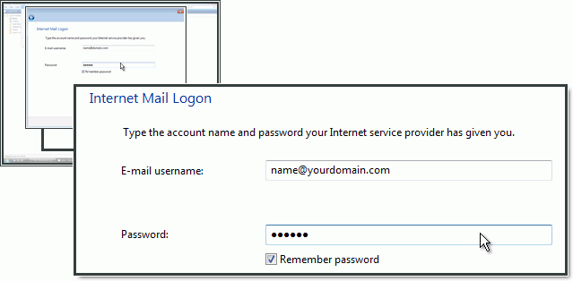 Typing in the email address and password as created in the control panel.