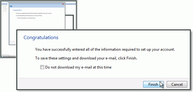 Completing the email account setup in Windows Mail with One.com.